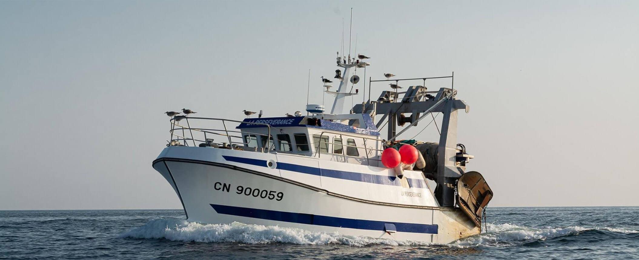 chalutier de peche-La Perseverance-bateau qui navigue dans la Manche et Calvados-vue de profil